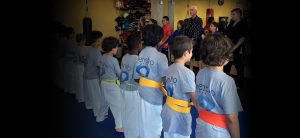 children in a martial arts class