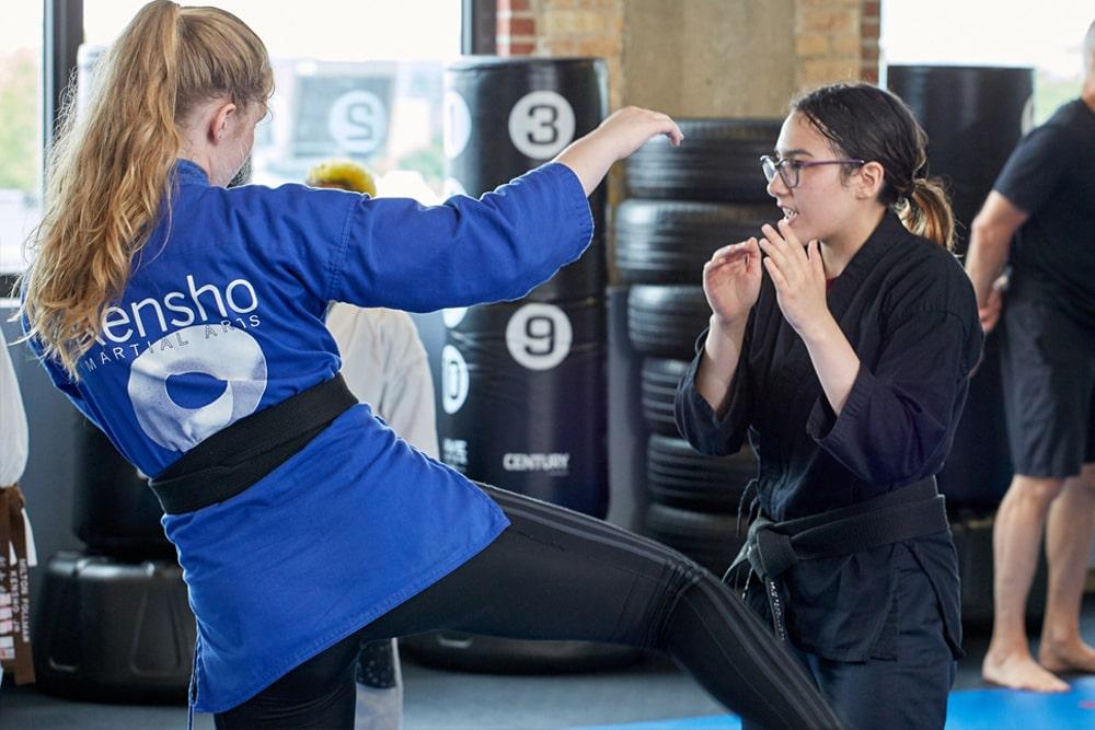 Teens training in muay thai